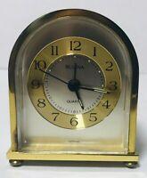 """RARE BULOVA BRASS ROUNDED QUARTZ ALARM CLOCK - GERMANY - WORKS 3"""" X 2.5"""" X 1.5"""""""