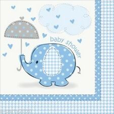 UMBRELLA ELEPHANT BOY LARGE NAPKINS (16) ~ Baby Shower Party Supplies Luncheon