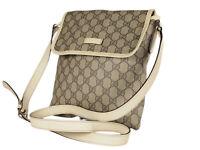 GUCCI GG Web PVC Canvas Leather Browns Crossbody Shoulder Bag GS2538