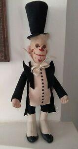 Gusto, Sarrasani Circus Clown, Very Rare Steiff Felt Doll 1904 Replica 412011