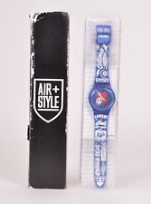 NIB LIMITED EDITION SWATCH AIR+ STYLE SKIN WATCH $280 Blue/ White 40mm-22mm
