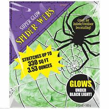 3.5oz Halloween Green Glowing Stretchable Spider Web Cobweb Decoration