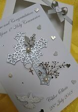 Handmade Personalised Silver Christening/ Baptism/ Holy Communion Card Gift Box