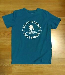 UNDER ARMOUR Blue Wounded Warrior Project Shirt Loose Size Youth YMD/JM/M. 1d