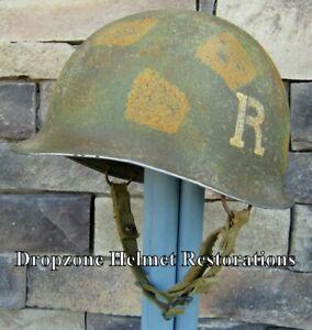 "WWII M2 Dbale Airborne Helmet ""Recon Platoon"" McCord Front Seam Paratrooper"