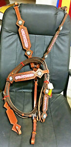 New Showman Bridle/Breastcollar Set Pink Filigree Bling Copper Horse Tack NR
