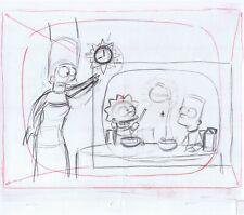 Simpsons Family in Kitchen Original Art Animation Production Pencils Rough Comp