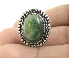 Dyed Emearld Gemstone Handmade 925 Sterling Silver Plated Ethnic Adjustable Ring