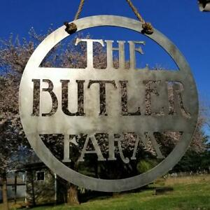 Hanging Farm Sign - Custom Metal Sign - Personalized Family Name Sign - Wedding