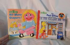 2 Sesame Street Books Post Office & No More Diapers Betty Lou 1995 Blonde Girl