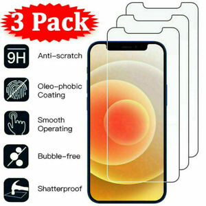 3Pcs Tempered Glass Screen Protector For iPhone 12 11 Pro X XR XS Max 8 7 6 Plus