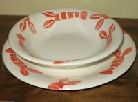 Pier 1 Imports Italian Hand Painted Lobster Dishes - Plate and Bowl Set Lot