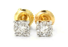Mens Ladies 14K Yellow Gold Round Cut 5 MM Solitaire Diamond Stud Earrings .25Ct