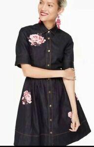 Kate Spade New York Broome Street Embroidered Denim Shirt Dress US 0 UK 4 BNWT