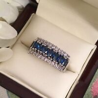 Vintage Jewelry Gold Ring with Blue White Sapphires Antique Deco Jewelry 9 S