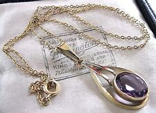 ANTIQUE VINTAGE ART DECO AMETHYST STONE SOLID 375 9CT GOLD PENDANT NECKLACE