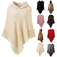 Women Ladies Warm Knitted Poncho Hooded Tassel Jumper Sweater Cape Wrap Shawl