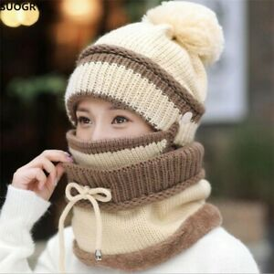 Womens Scarf Ski Cap Knitted Hat Warm Winter Beanie Frozen Disney Snow Mask Bib