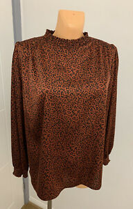 New Ladies Mix Brown Shiny Christmas Party / Office Top Blouse Plus Size UK 18