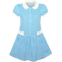 Girls Dress Blue White stripe Collar School Uniform Short Sleeve Age 5-12 Years