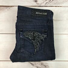 Affliction Women's 26 Dark Blue Jade Boot Cut Embroidered Wing Studded Jeans