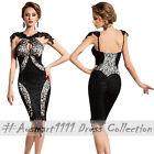 Sexy Black Lace Keyhole Bust Slim Midi Formal Evening Party Club Bodycon Dress