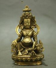 Folk Tibet Brass Buddhism  Wealth God Joss Yellow Jamhala Buddha Statue