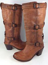 $388 Frye Carmen Boots 3 Strap Buckle Riding Brown Walnut Pull On SIZE 7 B