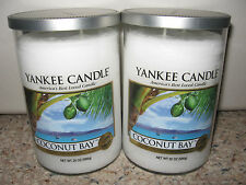 Yankee Candle COCONUT BAY Large 2 Wick Tumblers 22oz Candle Set of 2 RARE & HTF
