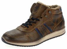 Bugatti Herren Leder Boots Winter Sneaker Schnürer Gefüttert Neu 38550 Cognac 42