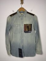 Ralph Lauren D&S XS Denim Shirt SouthWestern VTG RRL Polo Brocade Pocket Detail