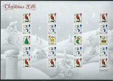 GREAT BRITAIN 2016 CHRISTMAS SMILERS SHEET LITHO WITH ELLIPTICAL PERFORATIONS UM