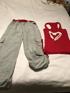 Vintage Zumba Tank Top & Cargo Pants Converts To Capri 2-pc SET Red Gray Large