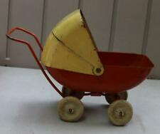 Vintage Wyandotte Tin Doll Buggy Carriage White Rubber Wheels Oange and Yellow