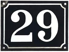 Large old blue French house number 29 door gate plate plaque enamel steel sign