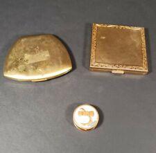 Vintage Set Of 3 Metal Gold Compacts Vanity Decorative