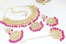 Indian Bollywood Pink Padmavati Necklace Earrings Set Partywear Wedding Jewelry1