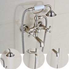 Wall Mount Clawfoot Brushed Nickel Bathroom Tub Faucet Hand Shower Mixer Tap Set