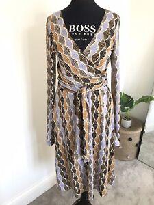 ISSA London Obi Silk Wrap Dress UK 12 Geometric Shell Print Flattering Tie Waist