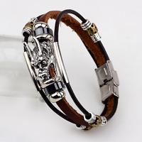 Fashion Men's Brown Leather Belt Silver Alloy Dragon Head Bangle Cuff Bracelet