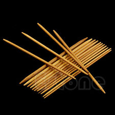 New 55Pcs 11Sizes 13cm Double Pointed Smooth Bamboo Carbonized Knitting Needles