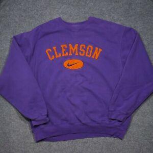 Team Nike Clemson Tigers Sweatshirt Adult XL Purple Big Center Swoosh NCAA Mens