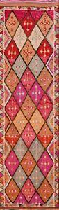 Vintage Geometric Decorative 11 ft Tribal Moroccan Runner Rug Wool 10' 9 x 2' 10