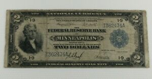 """1918 $2.00 """"Battleship"""" National Currency Note Circulated"""