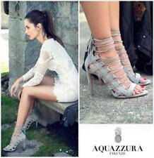 New AQUAZZURA Amazon Grey Suede Leather Lace-Up High Heel Sandal 39