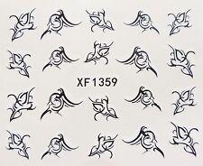 Nail Art Negro cursiva Remolinos De Encaje Diseño De Hojas De Transferencia De Agua Decal Sticker 1359