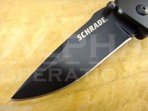 Schrade Folding Knife Spear Black Survival Fishing Hunting EDC Camping Tool 206