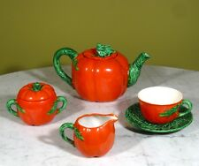 "Vintage French Limoges Tomato Majolica ""Egoïste"" Tea Set, Stamped Novex, 1930's"