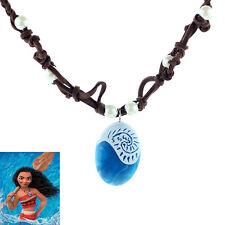 Girls Women Kids Chain Princess Moana Necklace Cosplay Blue Cabochon Pendant
