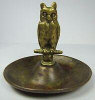 OWL Old Brass Tray Figural Card Tip Trinket Cigar Ashtray Desk Dressser Art
